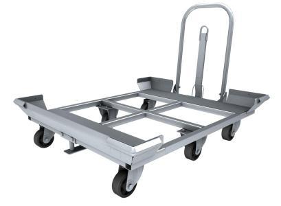 Rolcontainer.mobi levert een palletwagen waarmee in een trein het transport van meerdere pallets kan plaatsvinden