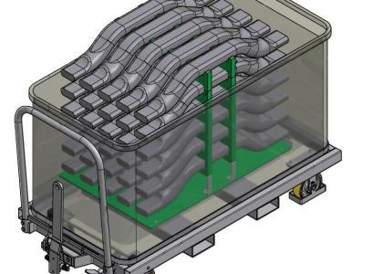 Rolcontainer.mobi levert een rolcontainer voor transport van bumpers van auto's